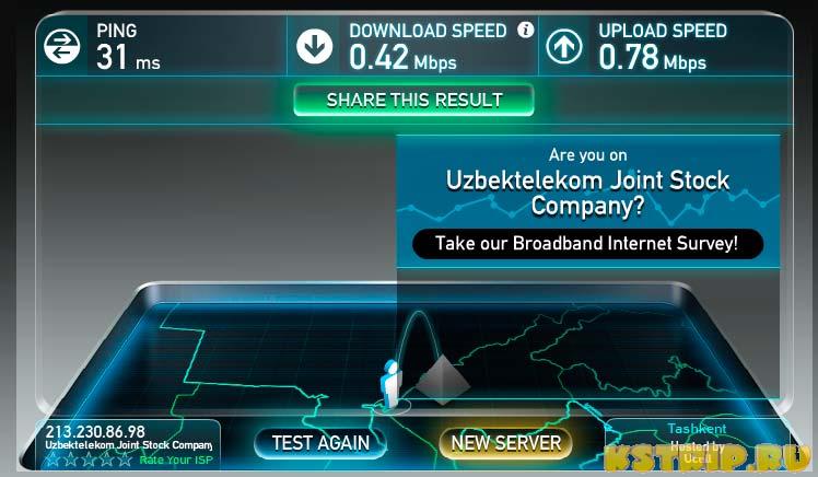 Измеряем скорость интернета в Бухаре