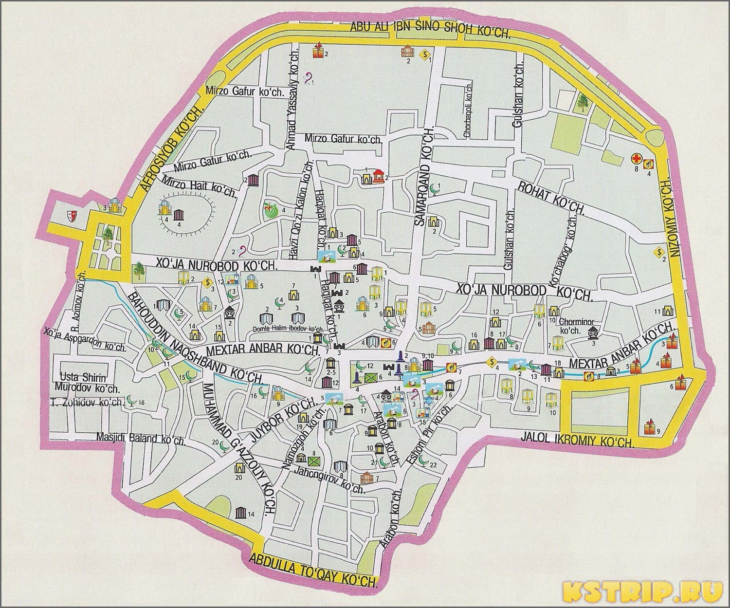 Карта достопримечательностей Бухары