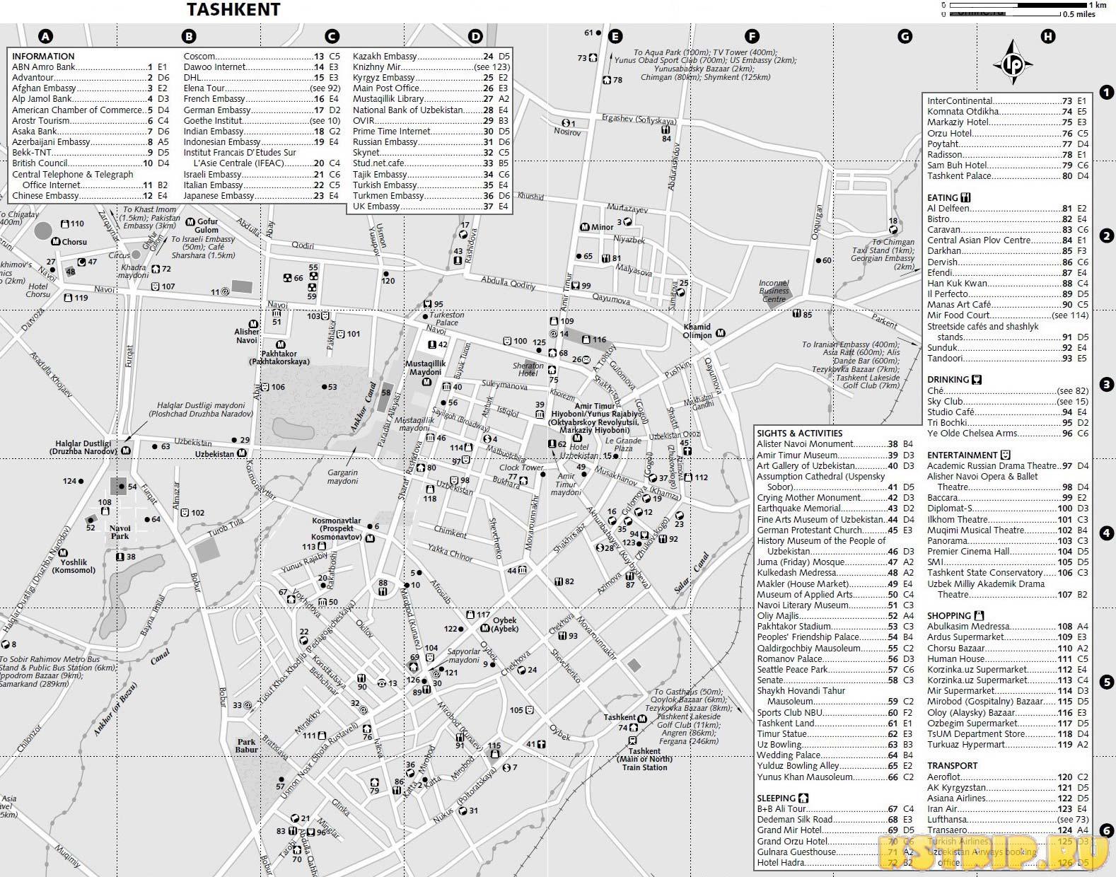 Карта достопримечательностей Ташкента