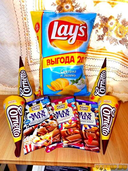 Чипсы lays, шоколад max fun, мороженое corneto