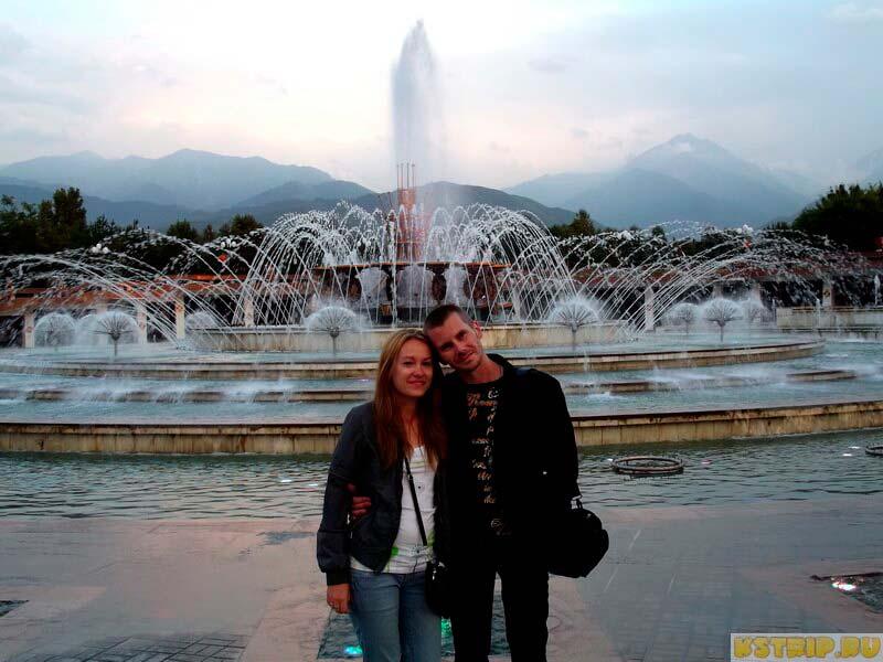 Алматы, Казахстан, фонтан в парке президента