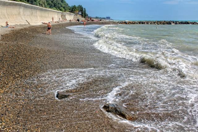 Пляж санатория «Янтарь» в Лазаревском